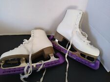 Figure Ice Skates Glacier 220 White for Women Size 8 with carrying bag euc