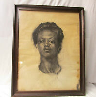 Antique Black Americana Charcoal Drawing ~ Portrait of a Black Woman ~ Framed