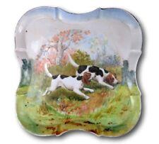 Limoges Porcelain Dog Dresser Tray, French Antique Charger Plate Signed RK Beck