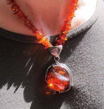 Vintage Nouveau Style Cognac Amber Pendant Statement Necklace Sterling Silver