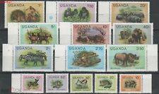 Uganda 1979 wildlife monkeys wild cats elephants etc set of 14v Mnh