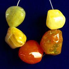 5Pcs/Set 20x20x12mm;15x12x13mm Natural Yellow Amber Freeform Pendant Bead M16296