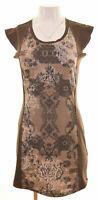DESIGUAL Womens Shift Dress Size 10 Small Brown Polyester  JZ19