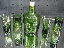 Vintage UNIQUE Green NUDES Decanter Set with 4 Glasses