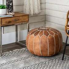 Moroccan Leather Handmade Ottoman Luxury Pouffe unique Tan Color Footstool