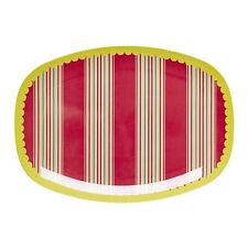 Rice Melamine Plate in Lace Red Stripe Print