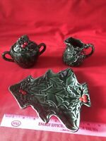 Vintage Lefton 3 pc Ceramic Green Holly Berry Sugar Bowl Creamer Dish Christmas