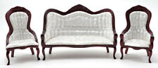 Miniature Dollhouse Victorian Sofa & Chair Set Mahogany White 1:12 Scale New