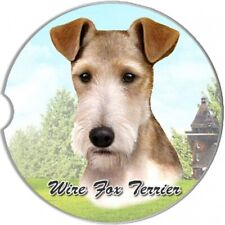 Wire Fox Terrier Absorbent Stone Car Coaster by E&S Pets
