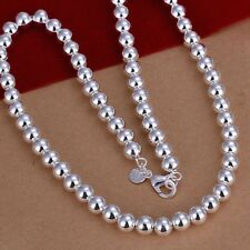 "Mens Womens 925 Sterling Silver Hollow Beads Balls 20"" Chain Necklace #Ne140"