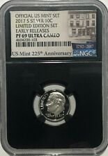 2017 S PROOF SILVER ROOSEVELT DIME LIMITED EDITION SET NGC PF69 ER ULTRA CAMEO