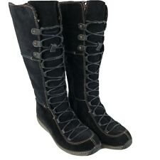 Timberland Women Boots sz 10 Black Suede Winter Moorland High 69375 PRISTINE!!!