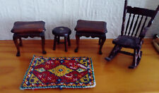 VINTAGE ODDMENT OF TWO OCCASIONAL TABLES, STOOL, HANDMADE RUG, ROCKING CHAIR A/F