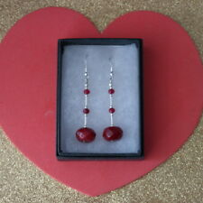 Beautiful Earrings With Faceted Indian Ruby 6.5 Gr. 4.5 Cm. Long + Hooks In Box