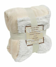 "Reversible Sherpa Microplush Throw Blanket 50""x 60"" Ivory"