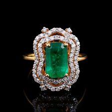 2.30 Ct. Emerald Gemstone Wedding Ring Diamond 18k Yellow Gold Handmade Jewelry