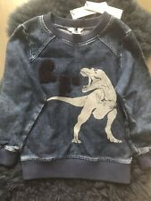 Brand New With Tags Little Marc Jacobs Denim Sweater With Fleece Patches Size 5