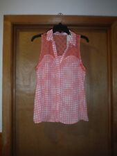 Sleeveless button front Blouse LG Candie's Peach Plaid 100% polyester NWT
