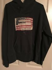 Polo Ralph Lauren Denim & Supply USA Flag Hooded Sweatshirt Hoodie Green Large