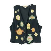 Vintage Havana by Giorgio Kauten Silk Vest Waistcoat Black Embroidered Beaded