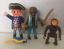 Playmobil Pirate Figures Captain / Shipmate Green Brown Monkey Parrot 3940