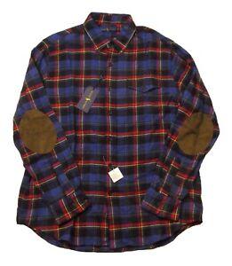 Polo Ralph Lauren Men's Purple Multi Plaid Elbow Patch Flannel Button Down Shirt