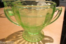 "Very Old Green depression Glass Sugar Bowl 3 1/4"" inches Tall"