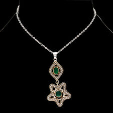 """CHROME DIOPSIDE WITH WHITE TOPAZ .925 SILVER TURKISH PENDANT NECKLACE 17-18"""""""