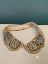 Vintage Beaded Pearl Rhinestone Collar Bib A192