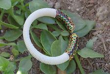 Kundan Bangle Bracelet Enamel Synthetic Pearls Seed beads Gold Vermiel Free size