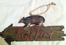 Whimsical Western Style Armadillo Toilet Sign  (RA3638)
