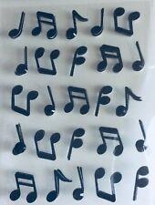 Music Notes Black Glittered 3-D Scrapbook Embellishment Stickers NIP