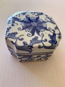 Asian Blue China Hand Painted Trinket Box