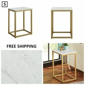 """New, End Table, White Top with Gold Frame, Size: 11.75"""" L x 15.00"""" W x 21.00"""" H"""