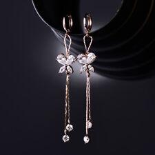 Luxury 18K Rose Gold Filled Dangle Butterfly Diamond Clear Topaz Women Earrings