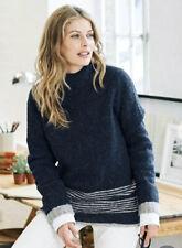 •• Celtic & Co Womens Stitch Stripe Hem Wool Jumper Uk Xs