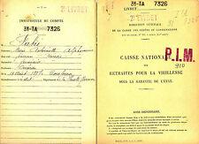 Livret Caisse Nationale des retraites pour la Vieillesse. 1926