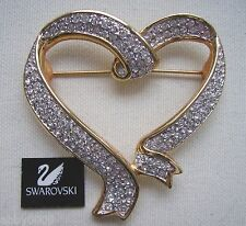 Signed Swan Swarovski Gold Plated Pave' Heart Brooch Pin
