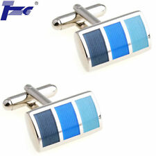 Men (Dark to Light) Blue Enamel Cufflinks With Velvet Bag TZG Brand Cuff Links