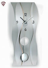 BilliB QC9060 Quartz Crystal Modern Wall Clock with Wave Design, Mineral Glass