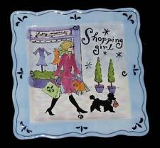 """Jennifer Brinley Girlfriend SHOPPING GIRL Scalloped Square 11-3/4"""" Platter NEW"""