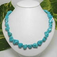 10MM BAROQUE BLUE TURQUOISE NECKLACE FINISH 12MM ALLOY SPRING RING CLASP