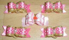 Pretty Pink Polka mostra floreale tipo Toelettatura Fiocchi Perline Centro