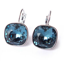 Navy Blue Drop Earrings with Denim 12mm Cushion Cut Swarovski Crystals Prom Gift
