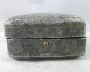 Antique French jewellery, brooch, pendant, necklace box. Hinged lid opening.