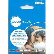 Lebara, LEBARA Mobile Sim Card Pay As You Go, 2G/3G/ 4G Standard/Micro/Nano