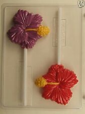 LARGE HIBISCUS LOLLIPOP CLEAR PLASTIC CHOCOLATE CANDY MOLD AO207