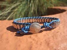 Mens Silver Magnetic Sports Surf Metallic Blue Leather Bracelet  Buffalo Button