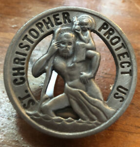 Vintage Catholic Saint Christopher Pewter Visor Clip Money Clip Camco Protection