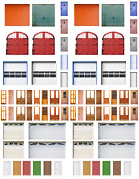 O Scale Doors Model Train Scenery Sheets –6 Assorted 8.5x11 Coverstock